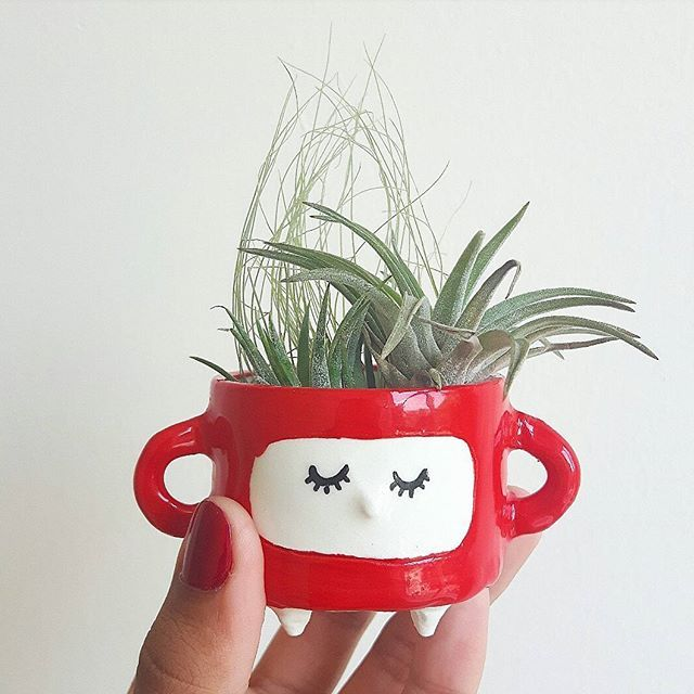 Super happy to have these charming little pots in the shop this photo is from the makers instagram feed!   That red tho 😍 This little one is heading to @periwinkleflowers tomorrow!!
