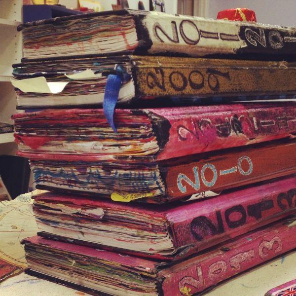 Sara Gant's Journals at Artworks Studio. Gotta love well-loved sketchbooks/journals!