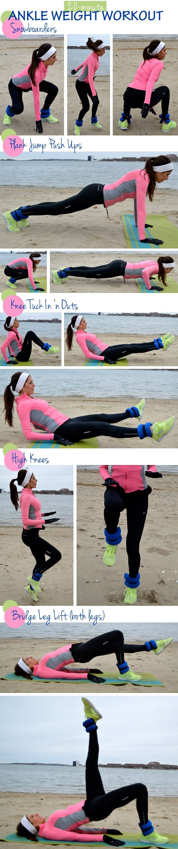 Workout with ankle weights