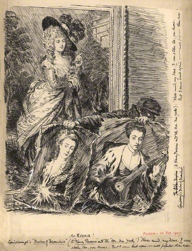 Au Revoir (Georgiana (Spencer), Duchess of Devonshire, Anne (Parsons), Viscountess Maynard ('Nancy Parsons'), Agneta Yorke (née Johnson))  by Sir (John) Bernard Partridge, after Thomas Gainsborough, and after Sir Joshua Reynolds  pen and ink, heightened with white, published 1907  15 3/8 in. x 11 3/4 in. (392 mm x 297 mm) paper size  Given by Executors of Lady Partridge, 1961  NPG D9526