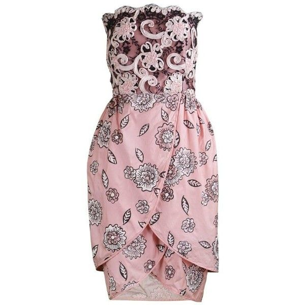 Preowned Zandra Rhodes Ribbonwork On Lace & Printed Silk Taffeta... ($482) ❤ liked on Polyvore featuring dresses, beige, cocktail dresses, pink cocktail dress, light pink dress, pink vintage dress, vintage cocktail dresses and pink lace dress