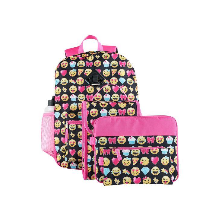 Kids 6-pc. Emoji Backpack & Accessories Set, Multicolor
