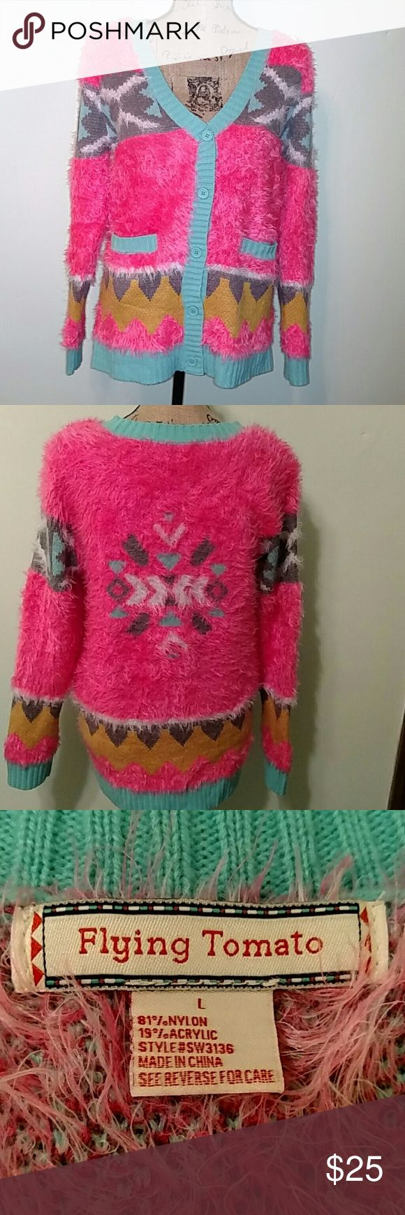 """Flying Tomato Neon Pink Aztec Print Cardigan I ordered this on Posh and sadly it doesn't fit me so I am reposhing. Very soft and cozy cardigan by Flying Tomato. Bust measures 20.5"""" across, length is 26.5"""" and sleeve length is 25"""". Two front pockets. Flying Tomato Sweaters Cardigans"""