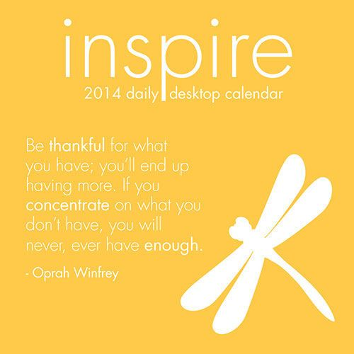 Inspire 2014 Desk Calendar features contemporary graphic designs and inspirational quotes.