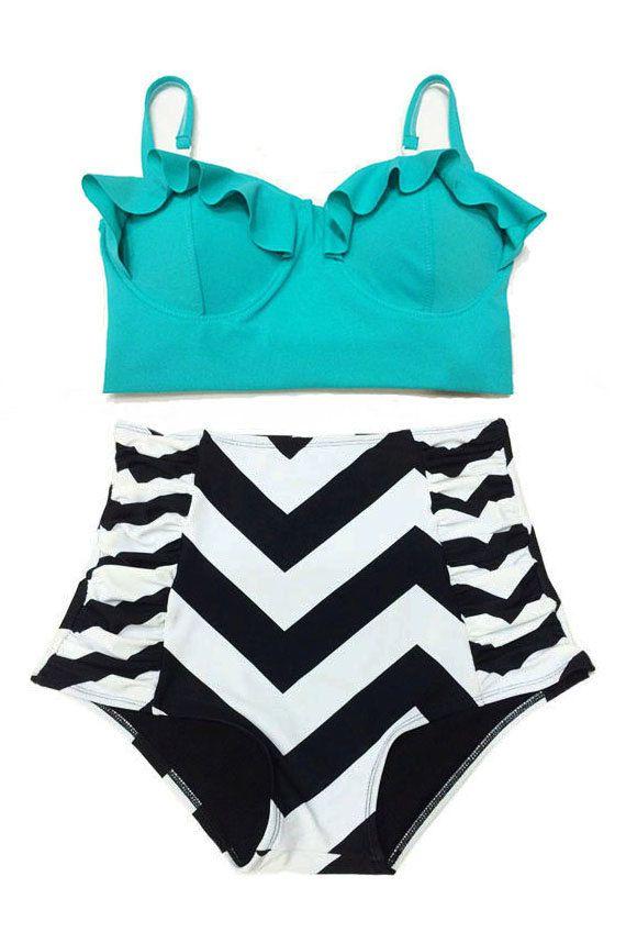Mint Midkini Top and Chevron Highwaisted High Waisted Waist rise High-Waist Swimsuit Swimwear Bikini Bathingsuit Bathing Swim suit dress S M on Etsy, $39.99