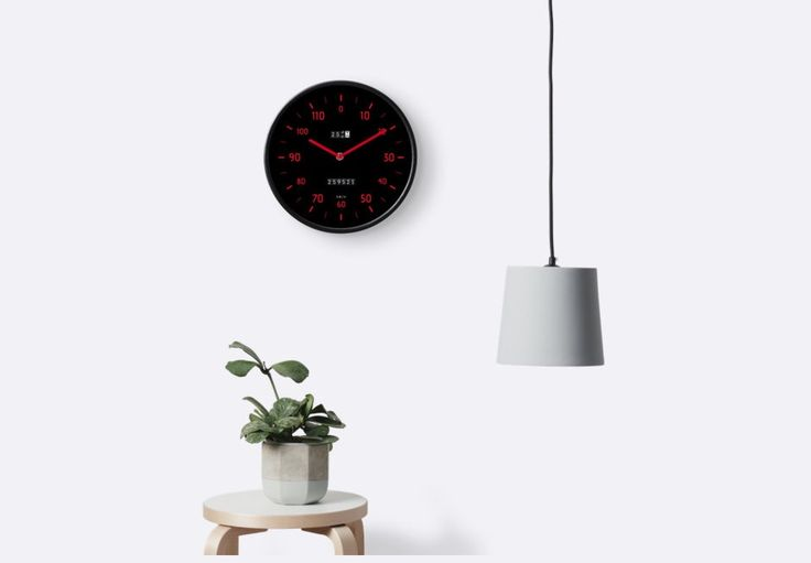 Retro car speedometer style of wall clock. Black with red marks.  http://shrsl.com/?gcb2  #cool #wallclock #clock #car #instrumentpanel #speedometer #retro #80s