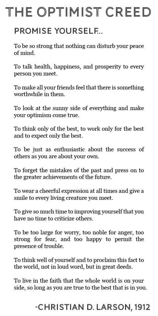 The Optimist Creed by Christian D. Larson