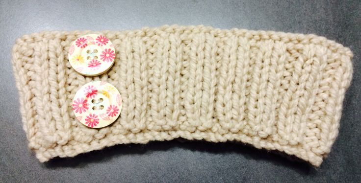 Tan Ribbed Headband with Wooden Buttons Avail any size, $8