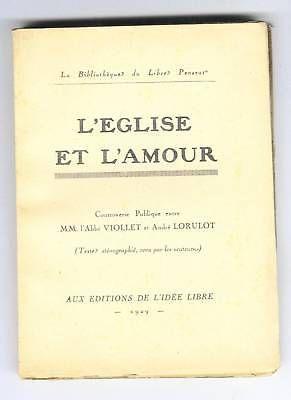 Andre Lorulot Contre Abbe Viollet L'eglise & L'amour 1929 Atheisme Libre Penseur