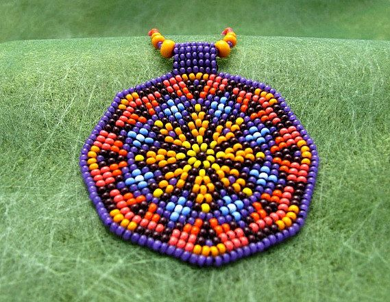 Seed Beaded Mandala. Sacred Geometry Necklace. Mandala Necklace. Art Jewelry. Native American Medicine Wheel.Salmon and purple colors.
