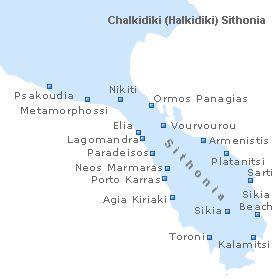 Map of Sithonia, Chalkidiki (Halkidiki), Macedonia, Greece