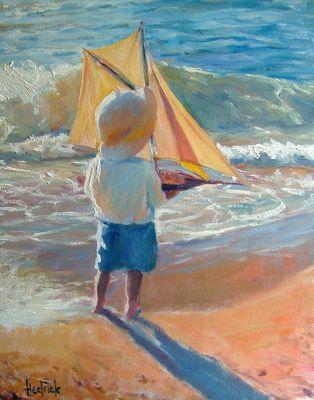 https://flic.kr/p/6HSULi | Ron Hedrick - American artist - boy with sailboat