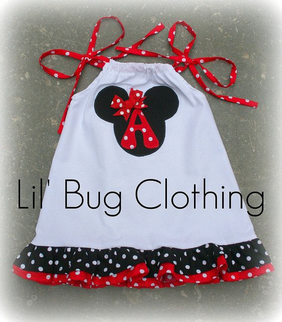 Custom Boutique Clothing Girl White Red and Black Minnie Mouse Dress via Etsy