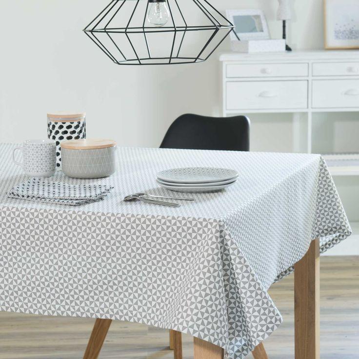 Nappe en coton blanche/grise 150 x 250 cm ZIGGY