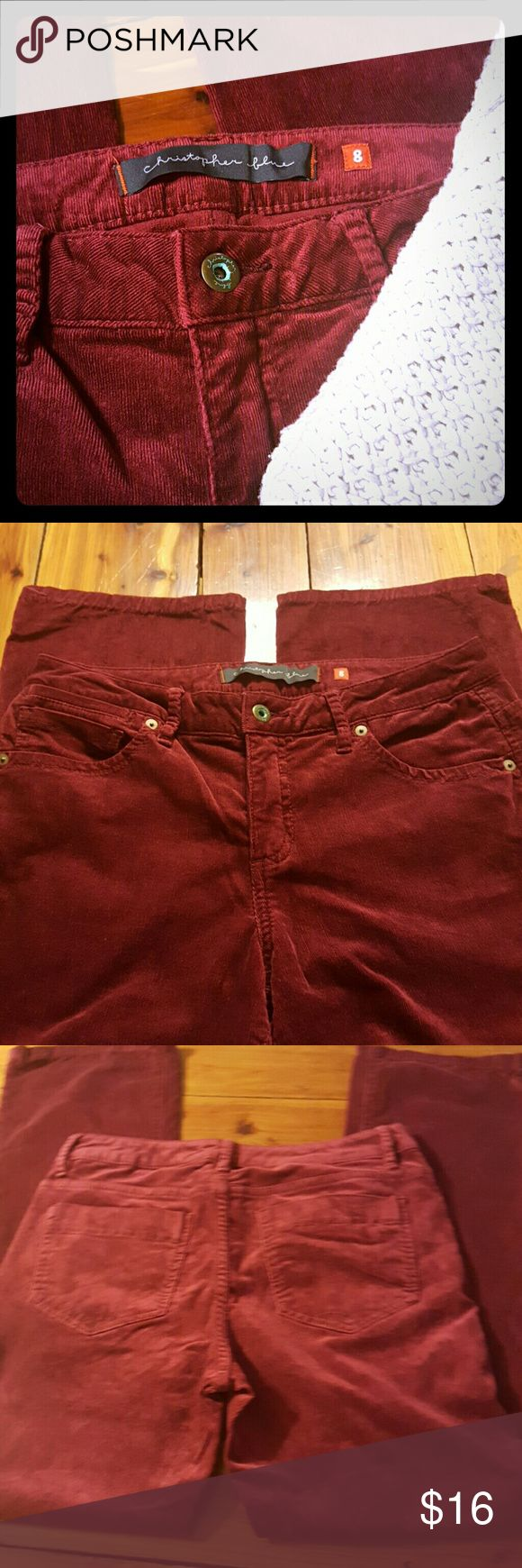 """Christopher Blue burgundy corduroy pants. Sophisticated corduroy pants 29"""" inseam.  Measures 8"""" across at ankle (laying flat).  Waist 16"""" across (laying flat).  Great shape!  15% OFF BUNDLES 3+!!  Open to offers! Christopher Blue Pants"""