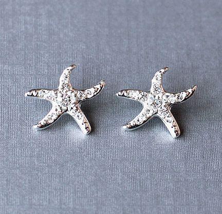 Bridal Rhinestone Earrings Starfish Stud Crystal Beach Wedding Jewelry Silver US ER029LX. $15.00, via Etsy.