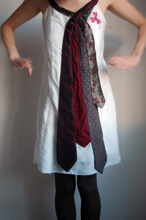 Another ADORABLE idea of what to do with those vintage ties...from thrift store, from grandad's closet or from wherever...you can use this applique idea on ALL sorts of clothing !!!