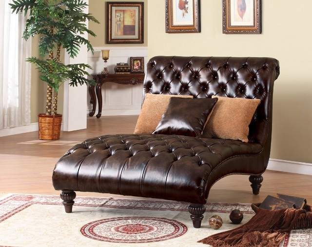 Huge Leather Tufted Chaise