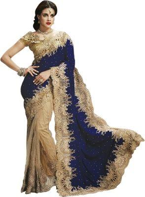 Nairiti Fashions Embellished Fashion Velvet, Net Sari - Buy Blue & Chiku Nairiti Fashions Embellished Fashion Velvet, Net Sari Online at Best Prices in India | Flipkart.com