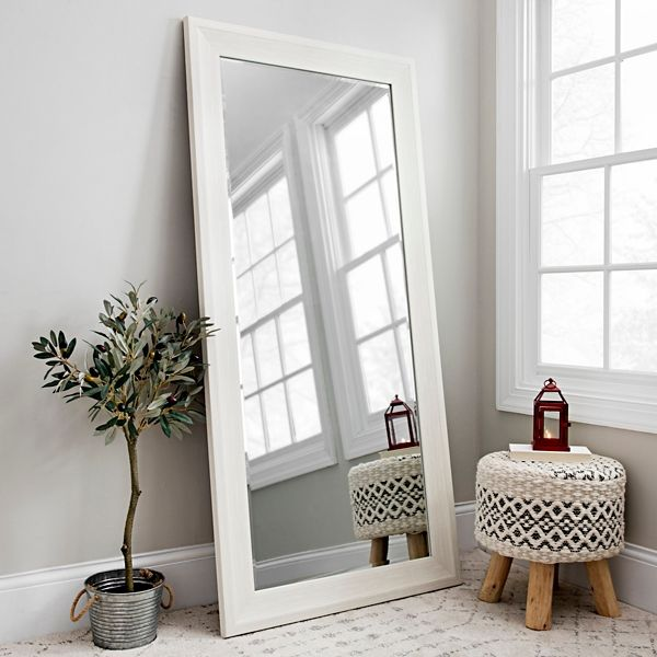 White Woodgrain Framed Wall Mirror 31 5x65 5 Wall Decor Bedroom