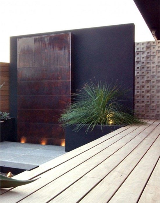 Corten Steel Wall Fountain On Patio