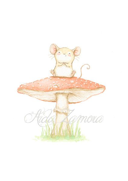 "Nursery print ""LITTLE MOUSE on MUSHROOM"" Archival Print, Nursery wall art, mouse nursery art, mouse wall art, Woodland prints, Aida Zamora"