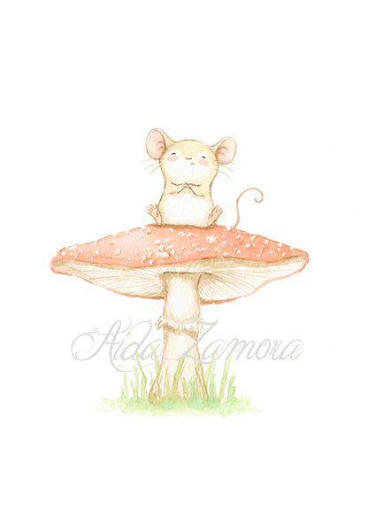 """Nursery print """"LITTLE MOUSE on MUSHROOM"""" Archival Print, Nursery wall art, mouse nursery art, mouse wall art, Woodland prints, Aida Zamora"""