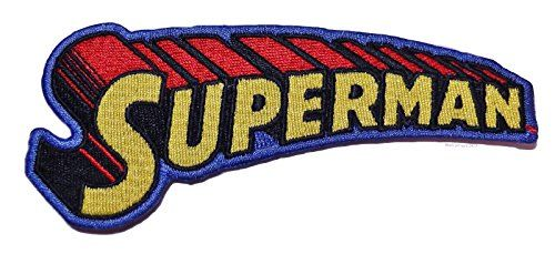 DC Comics SUPERMAN Name Logo 4 1/2 Wide Embroidered PATCH @ niftywarehouse.com