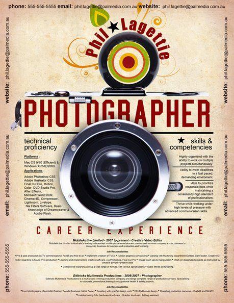 21 best Photographers Resumes images on Pinterest Book jacket - resume for photographer