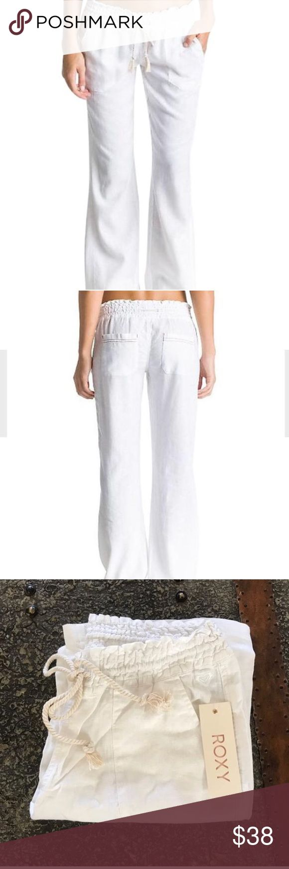 ROXY White Beach pants size Large NWT Roxy Oceanside Pant. One of Roxy's bestsellers! This woven beach pant has a drawcord smocked waistband and back pockets. 55% Flax Linen, 45% Viscoe Roxy Pants Boot Cut & Flare