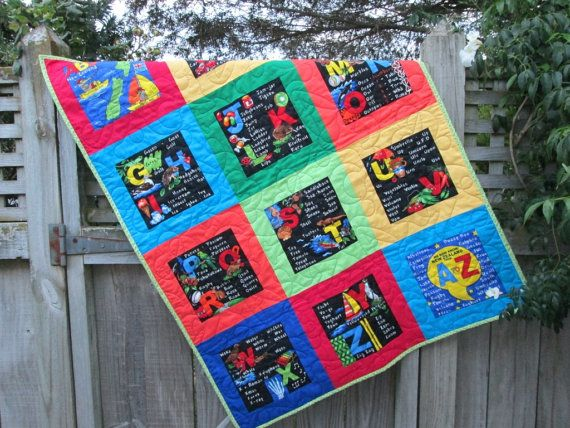 Baby Quilt ABC, New Zealand, Kiwiana, Nursery Decor, Baby Bedding, MADE to ORDER Quilt ...