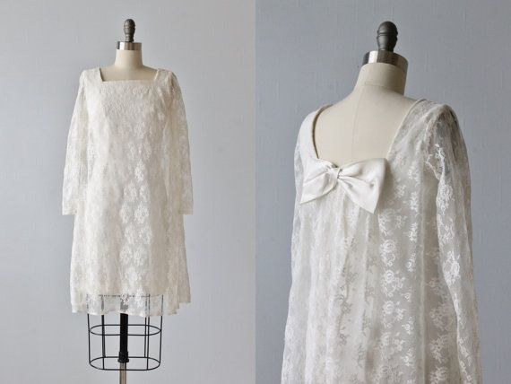 Vintage 1970s Wedding Dress / Mini Wedding Dress / Lace Wedding Dress / Long Sleeves / Nuptials at Noon on Etsy, $226.08 AUD