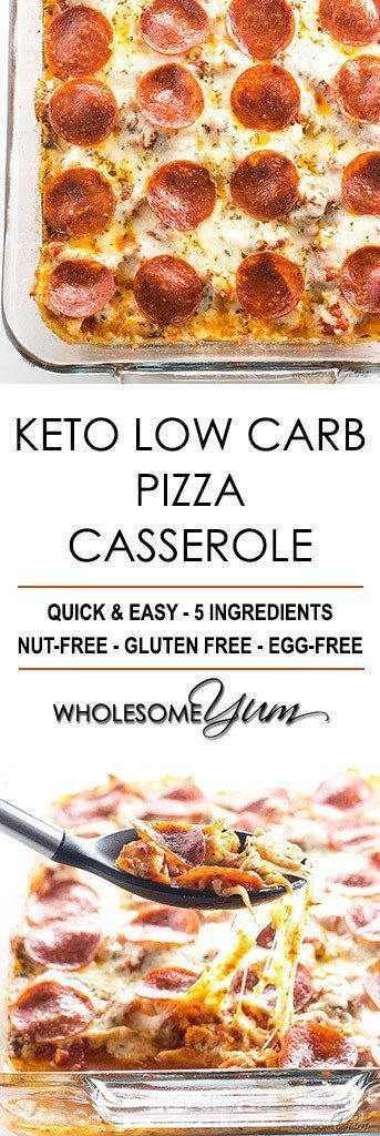 Keto Low Carb Pizza Casserole Recipe (Easy) – 5 Ingredients - This easy keto low carb pizza casserole recipe requires just 5 ingredients. Find out how to make a delicious cauliflower pizza casserole - no crust needed!