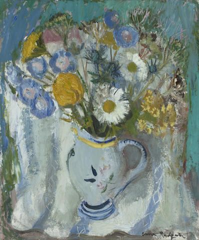 Anne Redpath OBE RSA ARA LLD ARWS ROI RBA (British, 1895-1965) Flowers in a French Jug 60 x 50.5 cm. (23 5/8 x 19 7/8 in.)