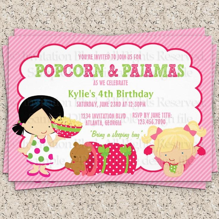 Popcorn And Pajamas Girl's Sleepover Birthday DIY Party