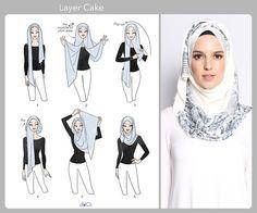 Layer Cake hijab tutorial by duckscarves. ♥ Muslimah fashion & hijab style