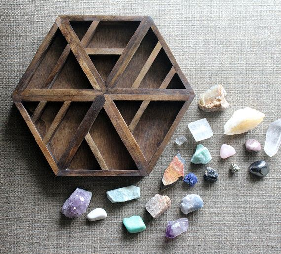 one of a kind handmade hexagon wood wall shelf with crystal and mineral gemstone instant collection