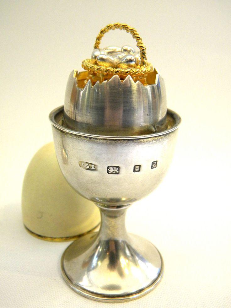 RARE SET 4 SILVER EGG SHAPED NOVELTY BOXES LONDON 1980 2 5 John Bull. 744 best Antique   Vintage Silver By John Bull Antiques images on