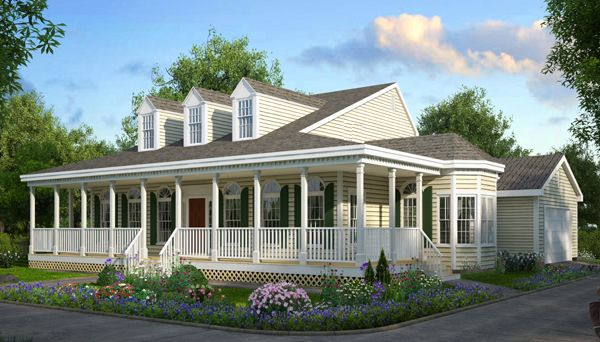 With three dormers and a classic porch this country style for House plans with dormers and front porch