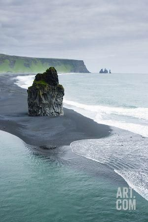 Iceland. Dyrholaey. Black Sand Beach and Sea Stack Photographic Print by Inger…