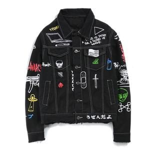 Aelfric Eden Graffiti 3D Print Hip Hop Jacket Denim Jean Men Jacket Casual High Streetwear
