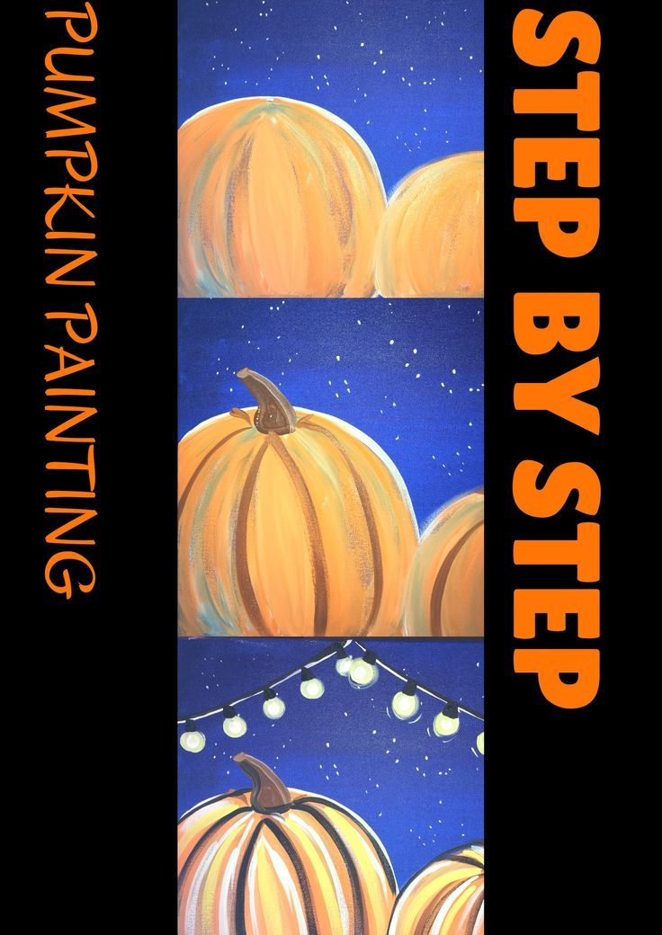 Step by step painting - how to paint pumpkins under string lights! Detailed tutorial and video.