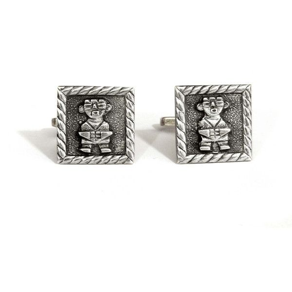 Mens Cufflinks, Colombian 900 Silver, Tribal Totemic Warrior, Andean... (450 BRL) ❤ liked on Polyvore featuring men's fashion, men's accessories, cuff links, vintage mens accessories and mens cuff links