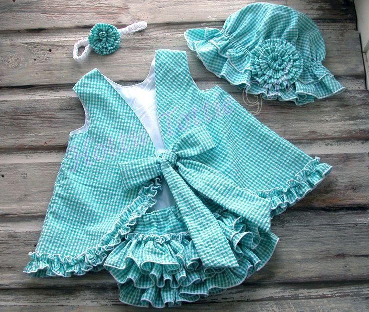 Aqua Ruffle Bloomer, Ruffle Diaper Cover, Ruffle Pinafore Dress &  Set, Cotton Seersucker Baby - Toddler ruffle skirts 5458