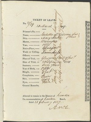 Ticket of Leave Isabella McGiloray. Convict Records at State Records NSW