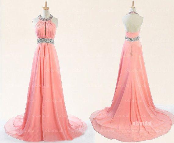 peach prom dresses long prom dresses halter prom dress by okbridal, $186.00