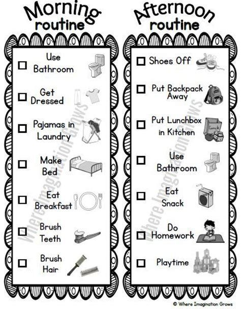 Image result for Kids Routine Charts