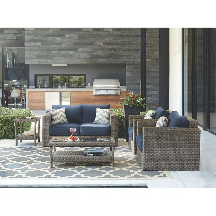 home decorators collection naples grey 4 piece all weather wicker patio deep seating set - Home Decorators Outdoor Cushions