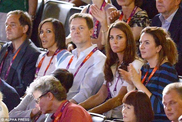Interested spectator: The Duchess of Cambridge (second right) sits with Dame Kelly Holmes (second left) and Deputy Prime Minister Nick Clegg (centre) at the Olympic boxing competition