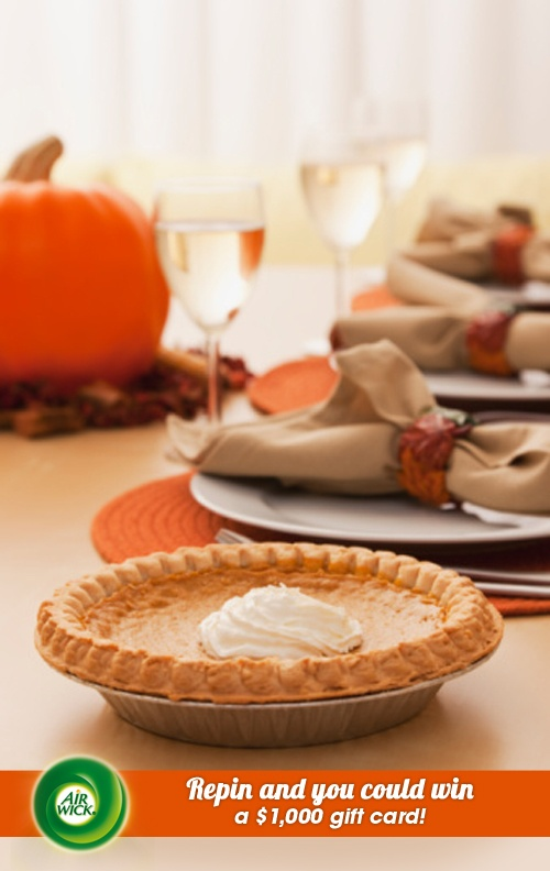 Inhale the spicy aroma of a freshly baked #pumpkin pie. Visit link for sweepstakes information: https://www.airwick.us/repin_to_win.phpThanksgiving Table